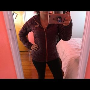 North Face burgundy puffer jacket